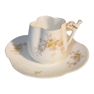 1880s Carlsbad Quatrefoil Demitasse Chocolate Cup & Saucer For Sale