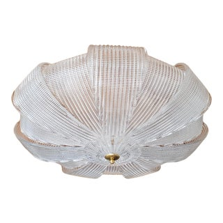 Large Mid Century Murano Clear Glass Flush Mount Light, Barovier Style 1970s - 2 Available For Sale