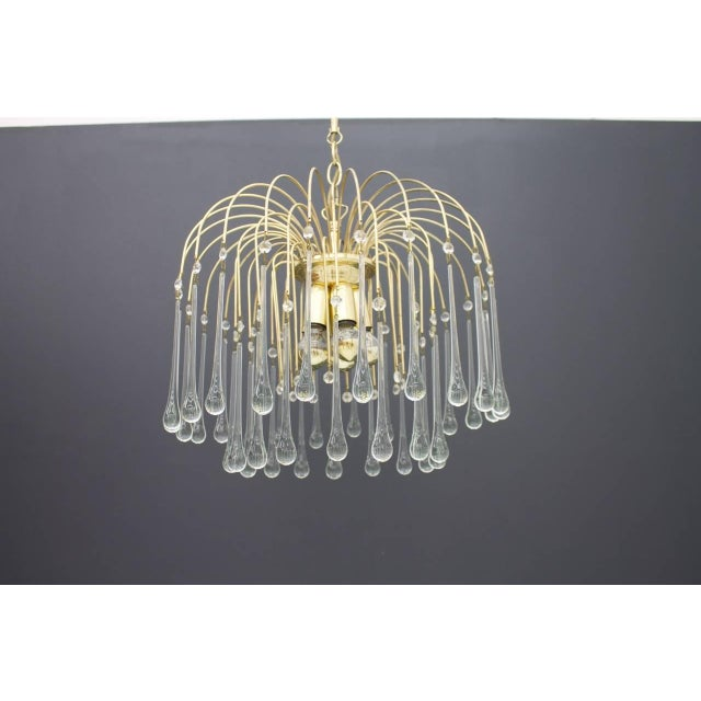 Christoph Palme Waterfall Chandelier Brass and Glass, Germany, 1970s For Sale - Image 10 of 10