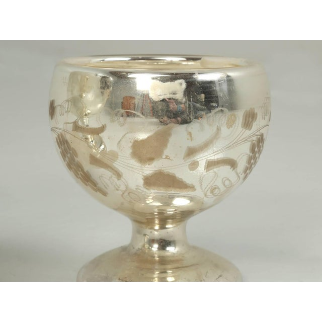 Etching Vintage Mercury Glass Compote with Etched Grapes For Sale - Image 7 of 10