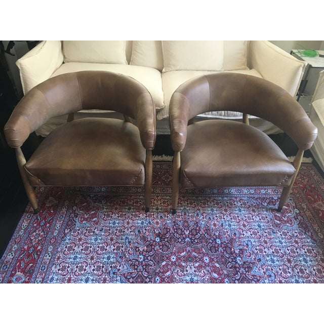 Mid-Century Modern Restoration Hardware Leather Chairs - A Pair For Sale - Image 3 of 7