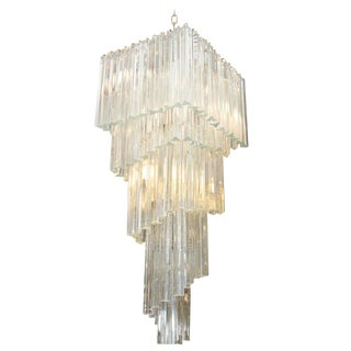 DRAMATIC FIVE-TIER MURANO GLASS CHANDELIER BY CAMER For Sale