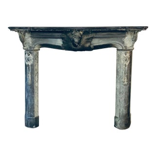 Early 20th C. Austrian Hunting Black Slate Mantel For Sale
