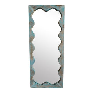 Vintage Blue Salvaged Full Length Mirror For Sale