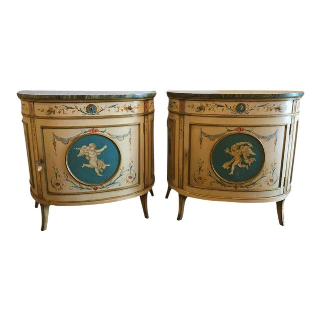 Adams Style Demilune Painted Commodes - A Pair - Image 1 of 11