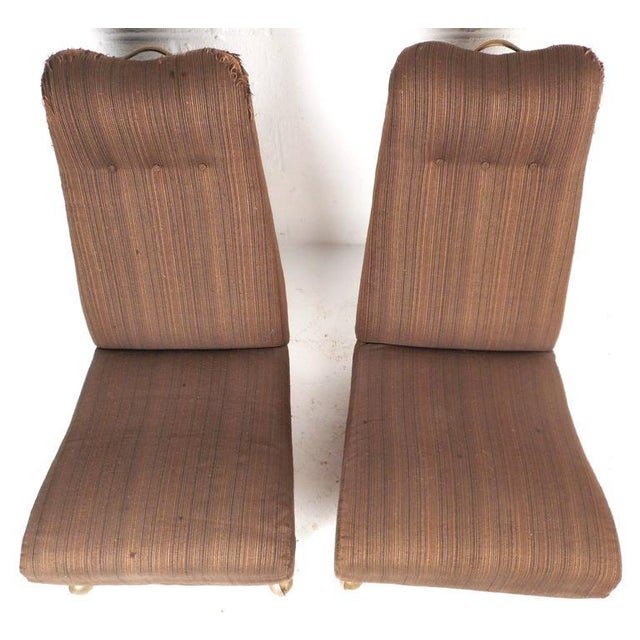 Mid-Century Modern High Back Slipper Chairs - A Pair - Image 5 of 9