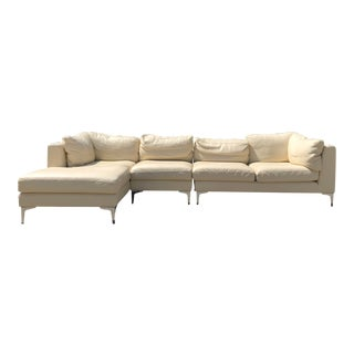 Contemporary DWR Albert Sectional Sofa in Cream For Sale