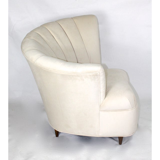 Vintage Hollywood Regency Fan Back Chair & Ottoman - Image 4 of 5
