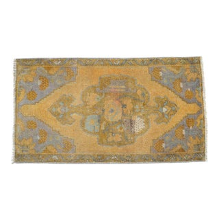 Distressed Low Pile Turkish Yastik Rug Faded Mat - 18'' X 33'' For Sale