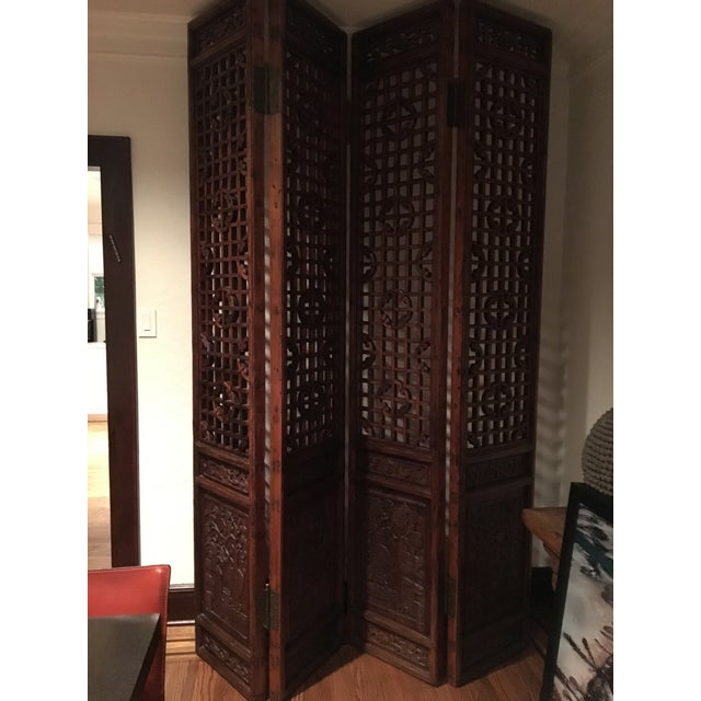 Antique Chinese 4 Panel Screen - Image 2 of 5