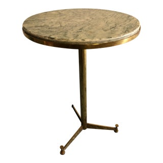 Italian Brass and Marble Pedestal Table For Sale