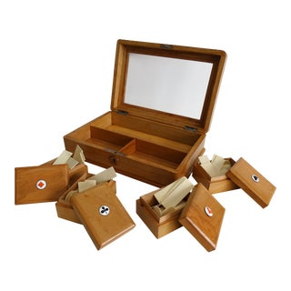 Early English Games Box With Bone Counters For Sale