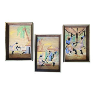 1970's Framed Signed Watercolors by Haitian Artist F. Joseph - Set of 3 For Sale