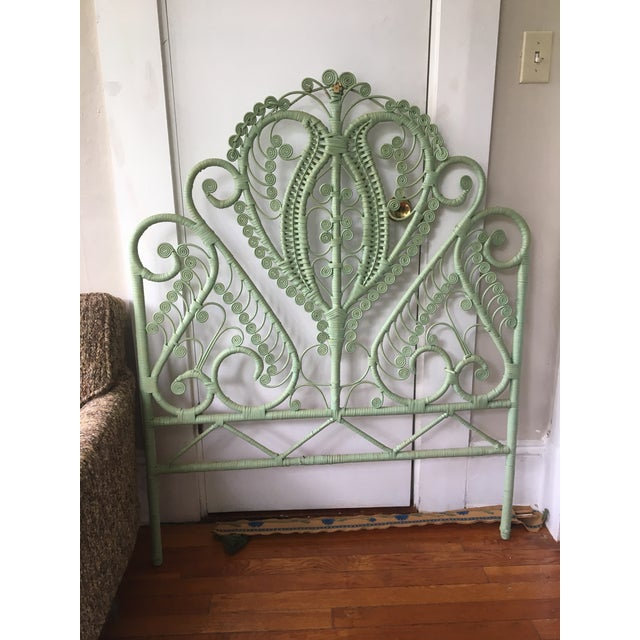 Paint 1960s Mid-Century Green Rattan Peacock Twin Headboard For Sale - Image 7 of 7