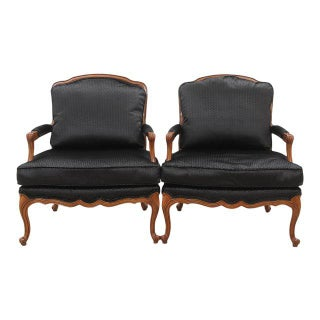 Clarke & Clarke Botanica Upholstered Louis XV Style French Armchairs, a Pair Preview
