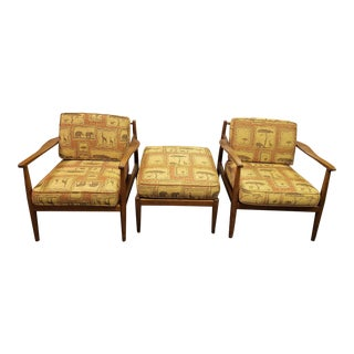 Mid-Century Modern Safari Folke Ohlsson Dux Lounge Chairs & Ottoman - Set of 3 For Sale