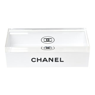 Chanel White Lacquered and Lucite 2 Part Box For Sale
