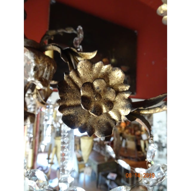 Gold 19th Century Italian Crystal Chandelier For Sale - Image 8 of 13