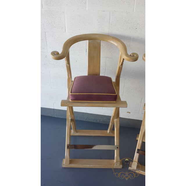 Vintage Chinoiserie Bar Stools - a Pair For Sale - Image 9 of 11