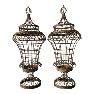 Vintage Mid Century French Wire Urns - A Pair For Sale