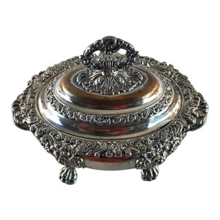 Heavy Silver Plate Footed Sauce Serving Bowl Tureen For Sale