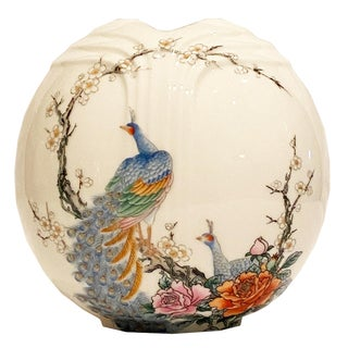 Vintage Chinoiserie-Style Decorative Japanese Peacock Vase Marked Fine China Japan For Sale
