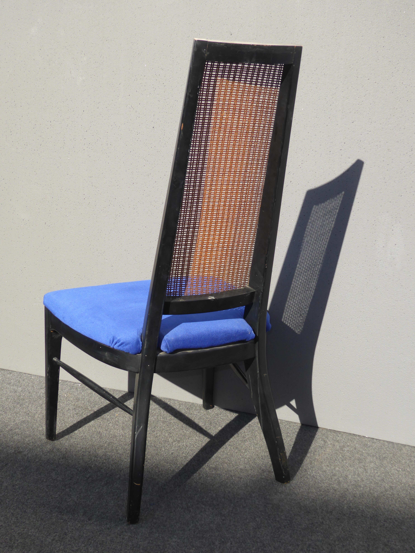 Wonderful Danish Modern Blue Velvet Cane Tall Back Dining Chairs   Set Of 6   Image 7