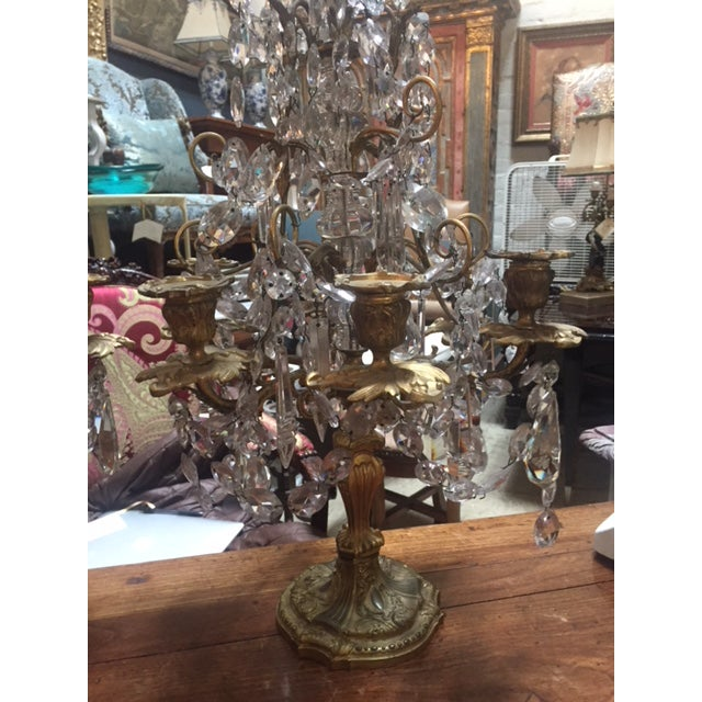 Rococo Early 19th Century French Dore Bronze & Crystal Girandoles - a Pair For Sale - Image 3 of 12