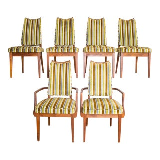 Mid-Century Modern Striped Upholstery Dining Chairs - Set of 6