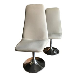 Vintage Borge Johansen Chrome Tulip Base Swivel Chairs - A Pair