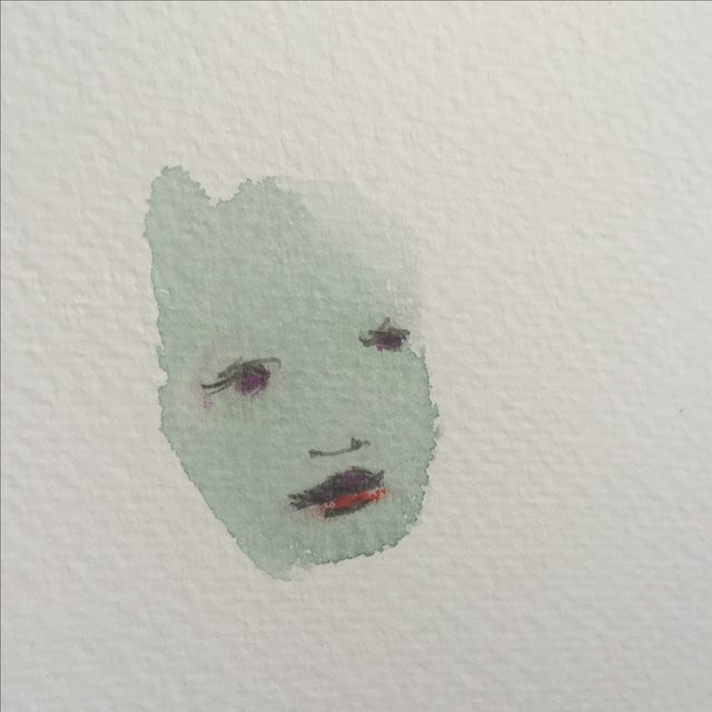 Lori Fox Abstract Watercolor Face 003 - Image 3 of 5