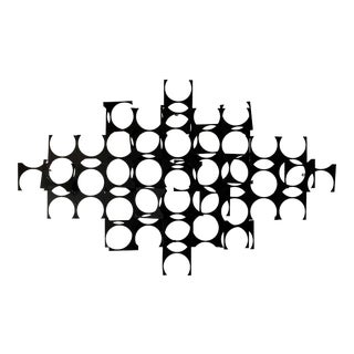 Large Mid Century Geometric Wrought Iron Sculpture Wall Art For Sale