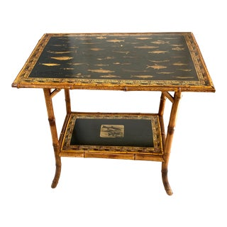English Victorian Bamboo Decoupage Table With Trout For Sale