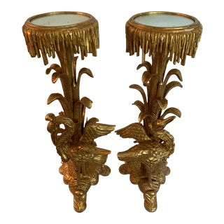Late 20th Century Pr. Gilt Carved Wooden Mirrored Stands - a Pair For Sale