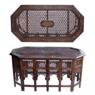Unusually Long Anglo Indian Octagonal Side/Traveling Table With Brass Inlay For Sale