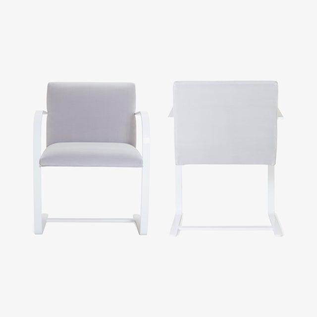 Bauhaus Brno Flat-Bar Chairs in Dove Velvet, Lunar Gloss Frame For Sale - Image 3 of 10