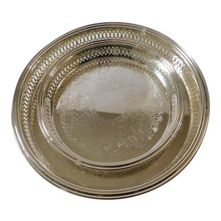 Silverplate Repousse Round Serving Trays - Set of Two