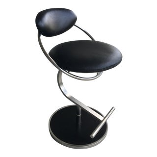 Dia Black Leather Barstool