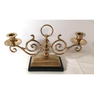 Vintage Double Brass Candelabra With Wood Base Preview