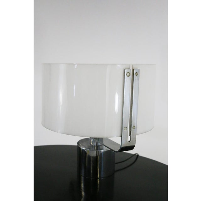 Mid-Century Modern 70s Table Lamp in Plexiglass and Chrome Steel Jacques Quinet For Sale - Image 3 of 8