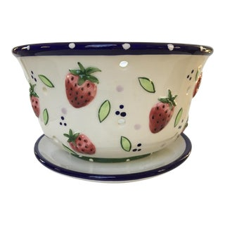 Strawberry Embellished Berry Bowl & Matching Tray by Ganz For Sale