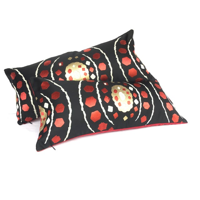 Japanese Abract Obi Pillows - A Pair - Image 2 of 7