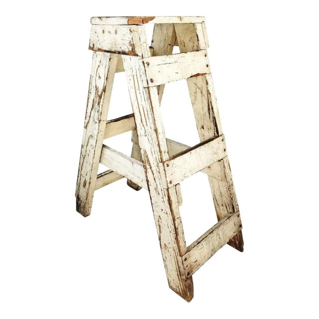 Antique Primitive Farmhouse Country Kitchen White Wood Stool Plant Stand Decor For Sale - Image 6 of 6