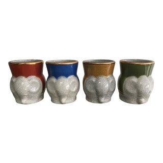 1970s Fitz and Floyd Crackle Glaze Elephant Cups - Set of 4 For Sale