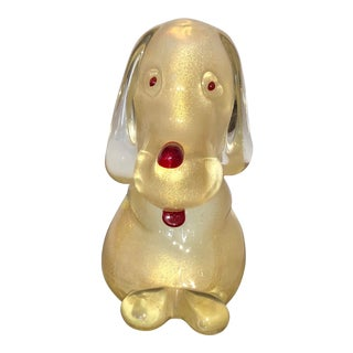Vintage Gold Flecked Murano Hound Dog For Sale
