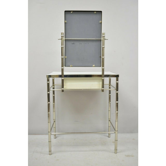 Mid 20th Century Hollywood Regency Faux Bamboo Metal Vanity With Chair-a Pair For Sale In Philadelphia - Image 6 of 13