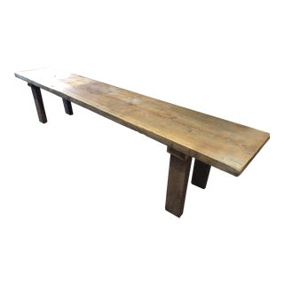 Modern Yellow Pine and Walnut Bench For Sale