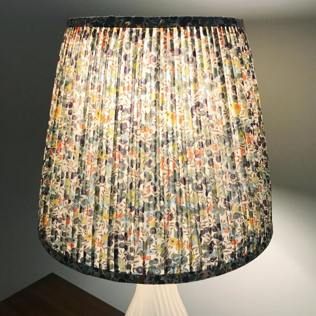 DETAILS: - New, handcrafted, pleated lampshade - Fabric: A 100% cotton. Colors include cream, olive green, navy, light...