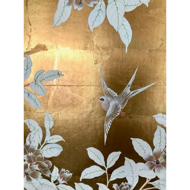 Paper Chinoiserie Old Handpainted Wallpaper Panel, Mounted on Foam Core For Sale - Image 7 of 8