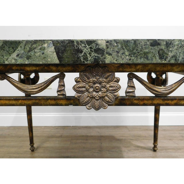 Maitland Smith Neo-Classical Square Marble Top Bronze and Iron Game Table For Sale - Image 11 of 13